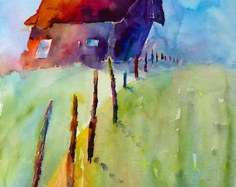 old rustic barn on hill western contemporary colorful southwestern abstract old farm house painting print watercolor canvas rural rustic