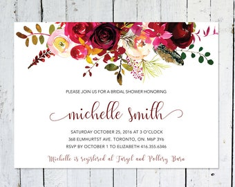 Bridal Shower Invitation, Boho Bridal Shower Invitation, Maroon, Floral, Printable, Printed, Marsala, Burgundy, Feather