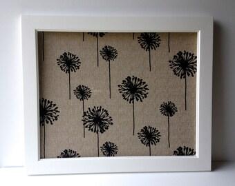 "Decorative bulletin board, 21"" x 27"" framed magnet board, designer bulletin board, memo board, black & tan, modern fabric - wedding decor"