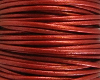 2 Yards - 2mm Metallic Moroccan Red Leather Cord