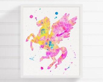 Pegasus Art Print, Watercolor Pegasus, Pegasus Painting, Nursery Art Print, Pegasus Poster, Baby Girl Nursery, Girls Room Decor, Kids Room