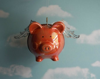 Flying Pig, When Pigs Fly, Upcycled Piggy Bank