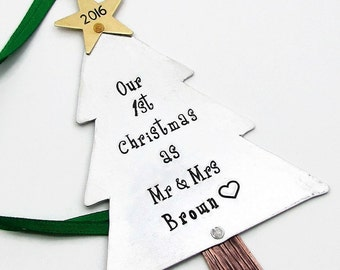 Custom 1st Christmas as Mr and Mrs, Personalized Ornament for Couples, Our First Christmas Couples Ornament Hand Stamped Christmas Ornament