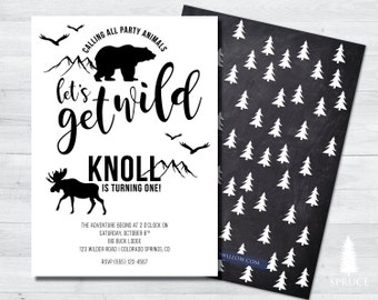 party animal birthday invitation, woodland birthday invitation, calling all party animals birthday invitation, party animal invitation