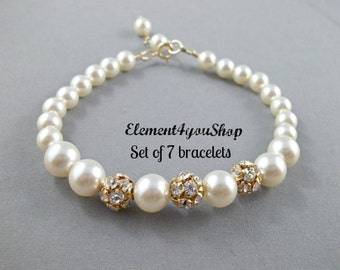 Bridesmaid bracelets, Set of 7 Seven, Bridesmaid gifts, Gold rhinestone pearls, Simple thank you gift, Bridal party jewelry, Wedding jewelry