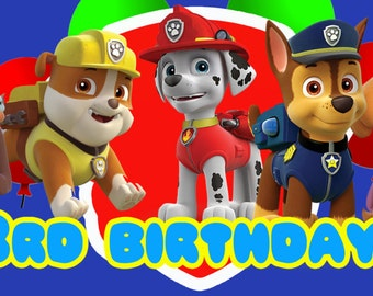 Personalized Paw Patrol Birthday Banner