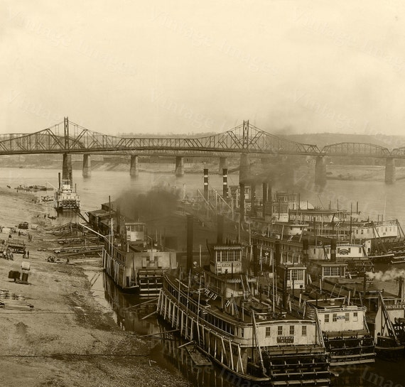Cincinnati Steamboat Photo Ohio River photo Ohio Steamboats Paddle Boat Vintage Paddle Wheel Riverboat Large Steamer Photo River decor Print