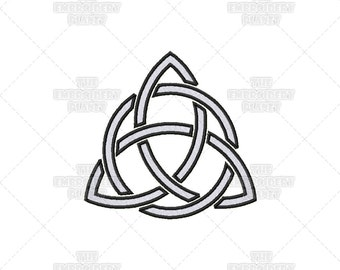 Woven Hollow Triquetra Circle Stencil Effect Celtic Spiritual Religious Sacred Symbol Machine Embroidery Pattern Design