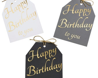Happy Birthday gift tags gold foil Wine bottle tags Birthday party tags Pack of 12 tags Large gift tags Favor tags Party tags Present tags