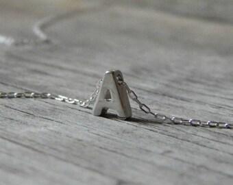 Silver monogram necklace, Letter necklace, A, C, D, E, J, K, M, N, O, S initial