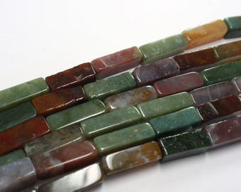 "Fancy Jasper Multi Rectangle Beads, 13x4mm Rectangle Gemstone Beads, 16"" Strand - 31 Beads"