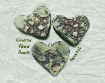green heart necklace bead , Heart bead for necklaces, necklace supply ,clay heart bead, ceramic heart -  # 127