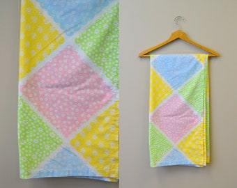 1960s Pastel Square Printed Tablecloth