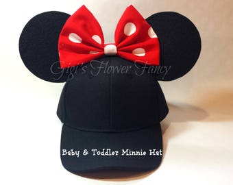 Baby Toddler Minnie Mouse Hat with Ears   Baby & Toddler Adjustable Hat