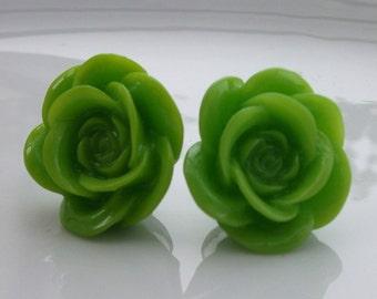 Large Kiwi Rose Earrings