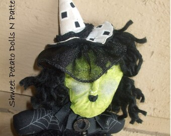 Primitive Black White Witch Shweet T Cloth Doll Ornament