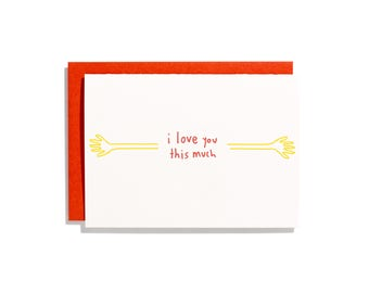 I Love You This Much - Letterpress Love Card - CL088