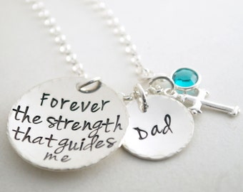 Inspirational Hand Stamped Memorial Jewelry Sterling Silver  with Cross Charm and Birth Crystal