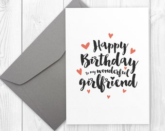 Printable Happy Birthday card for a wonderful girlfriend - Happy Birthday card for her, birthday wishes for girlfriend