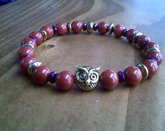 Owl Totem Red Jasper Beaded Bracelet, Wisdom & Knowledge Bracelet Jewelry, Gemstone Green Bracelet, Reiki Healing Jewellery UK