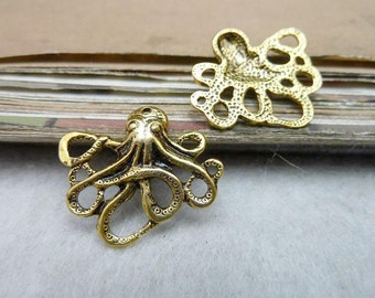 20 Octopus Charms Antique gold Tone - WS7984