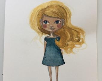 Golden Hair original watercolor