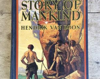 1926 printing of The Story of Mankind by Hendrik Van Loon, vintage history book, first John Newberry Medal winner, vintage children's book