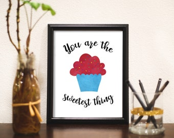INSTANT DOWNLOAD you are the sweetest thing colorful cupcake wall print little girls art decorations digital home decor