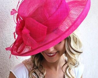 Pink Derby Hat, Tea Party Hat, High Tea Hat, Church Hat, Derby Hat, Tea Party Hat, Fashion Hat, Church Hat, Derby Hat, Pink Sinamay Hat