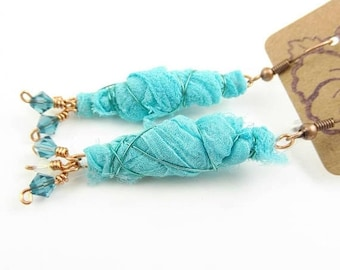 Sari Silk Cacoon Wire Wrapped Handmade Crystal Dangle Earrings - Prima Donna Beads