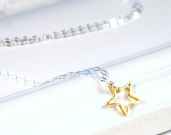 Gold Star Necklace - Petite Golden Brass Floating Sterling Silver Celestial Galaxy Clean Sophisticated Mini Charm for Her Gift Under 20