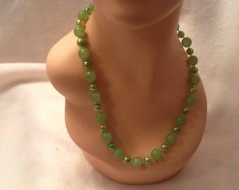 Vintage Beaded Neclace Lime Green Iridescent Plastic Beads Gold Clasp Hong Kong Spring Summer Accessory