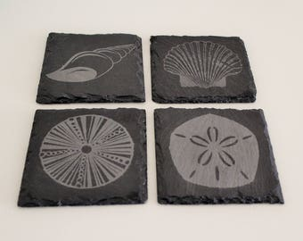 Nautical Slate Etched Coasters - Eight Design Choices - Shell Coasters - Set of Two, Four or Eight - Slate Coasters