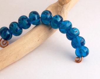 Azure Blue Lampworking Glass Bead Set