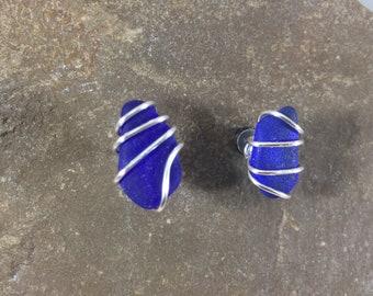Blue Wire Wrapped Sea Glass Studs, Beach Glass Post Earrings, Genuine Seaglass, Beach Earrings, Beach wedding Jewelry, Gift for Mom, Silver