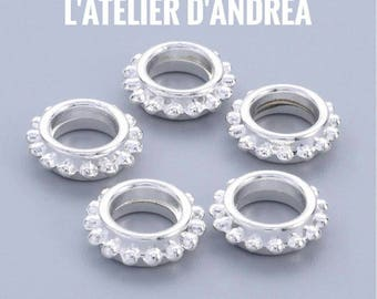 x 10 Sun beads large hole, silver, brass, 13.5 x 4.5 mm, 7 mm hole