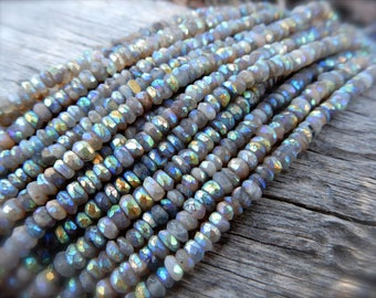 Mystic Gray Moonstone beads - 4mm X 2mm - faceted semiprecious rondelles