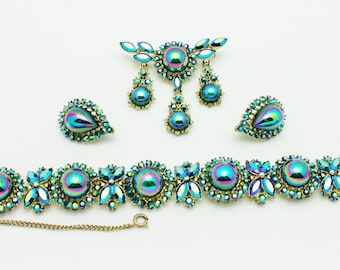Coro Signed Blue Metallic Exquisite Parure