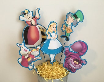 ALICE IN WONDERLAND Centerpiece Picks Set of 5 (Double-sided)/Cake Toppers / Birthday Party / Decorations / Supplies / Decor