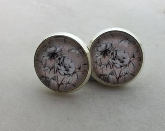 White floral glass dome stud earrings. 12mm with surgical steel and nickel free posts