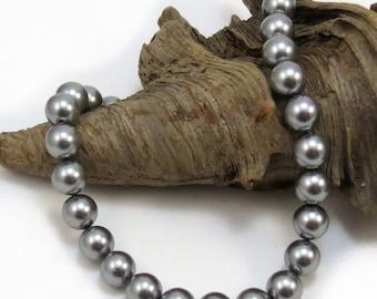 Grey Crystal Pearls, Swarovski Pearls, Ten (10) Grey Swarovski Pearls, 10mm Round Beads, Gray 10mm Pearls, Beading Supplies, Item 216p