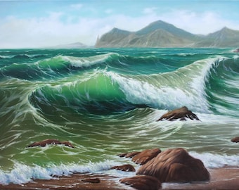 Sea landscape, Sea waves, Seashore, Original sea landscape