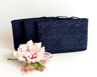 Bridesmaid Gift Bag Wedding Clutch  Braidsmaid Wristlet Wedding Purse Bride Clutch Bag Evening Purse Navy Lace on Satin