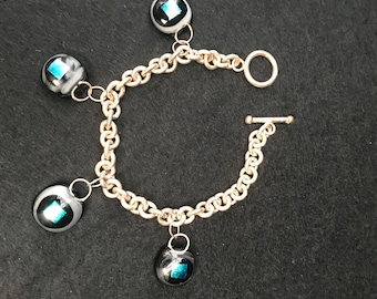 Silver and Dichroic Glass Charm Bracelet