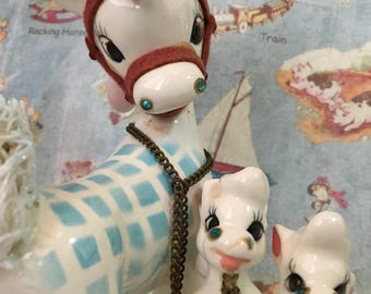 FREE SHIPPING Very RARE Vintage Antique Mama Mare Horse and Babies Ponies Family Collectible Kreiss Figurines or Cake Toppers