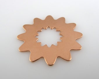 "Sale - COPPER ABSTRACT FLoRAL SHaPE, 1"", 25mm, Stamping Blank Personalized Scrapbooking Jewelry 24 Gauge Qty 6"