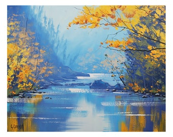 Autumn print , painting prints, fall scene, Autumn picture , downloadable prints from my Original Oil Painting