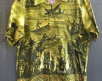 Vintage Aloha Tiki Hawaiian shirt M Medium Surfside sportswear Waikiki  asian-style metal buttons medium 100% cotton Green Boats Tiki gods