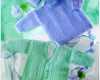 PDF Knitting Pattern, Instant Download, Baby Sweater Pattern, Baby Cardigan, Vintage Knit Pattern, Baby Knit Pattern, Cardigan Pattern, DK