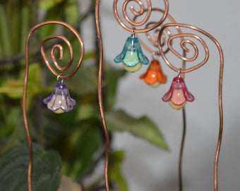 Fairy Lights, Glow In The Dark, 3 Flower Lanterns, Copper Plant Stakes, Fairy Light, Plant Decor